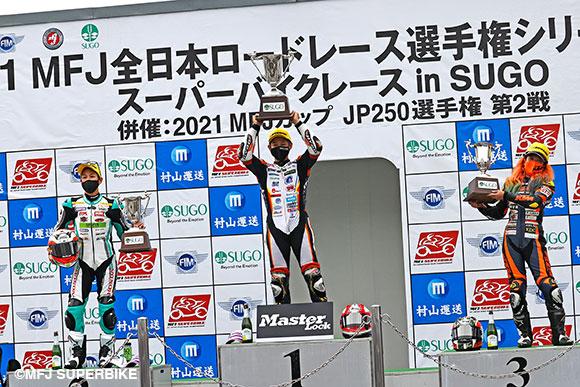 表彰台(左から 尾野弘樹/小室旭/高杉奈緒子)