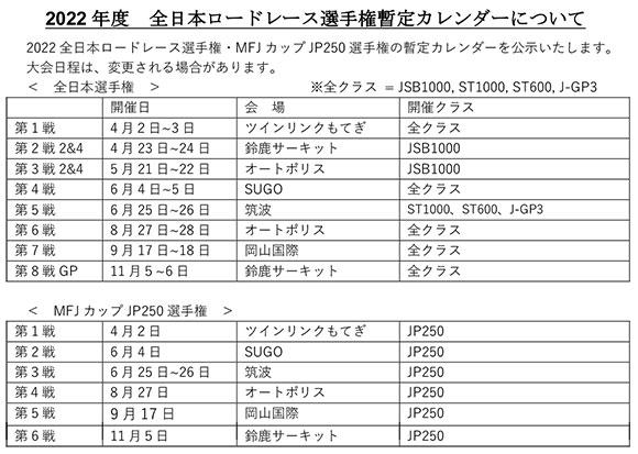 2022全日本ロードレース選手権暫定カレンダー